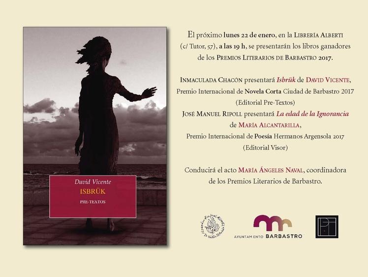 Los Premios Literarios de Barbastro se presentan en Madrid y Zaragoza