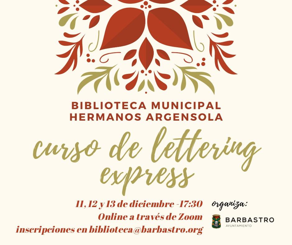La Biblioteca Municipal 'Hermanos Argensola' organiza un Curso de Lettering
