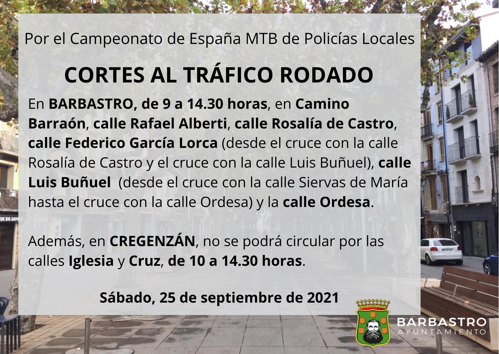 Restricciones de tráfico con motivo del Campeonato de España MTB de Policías Locales