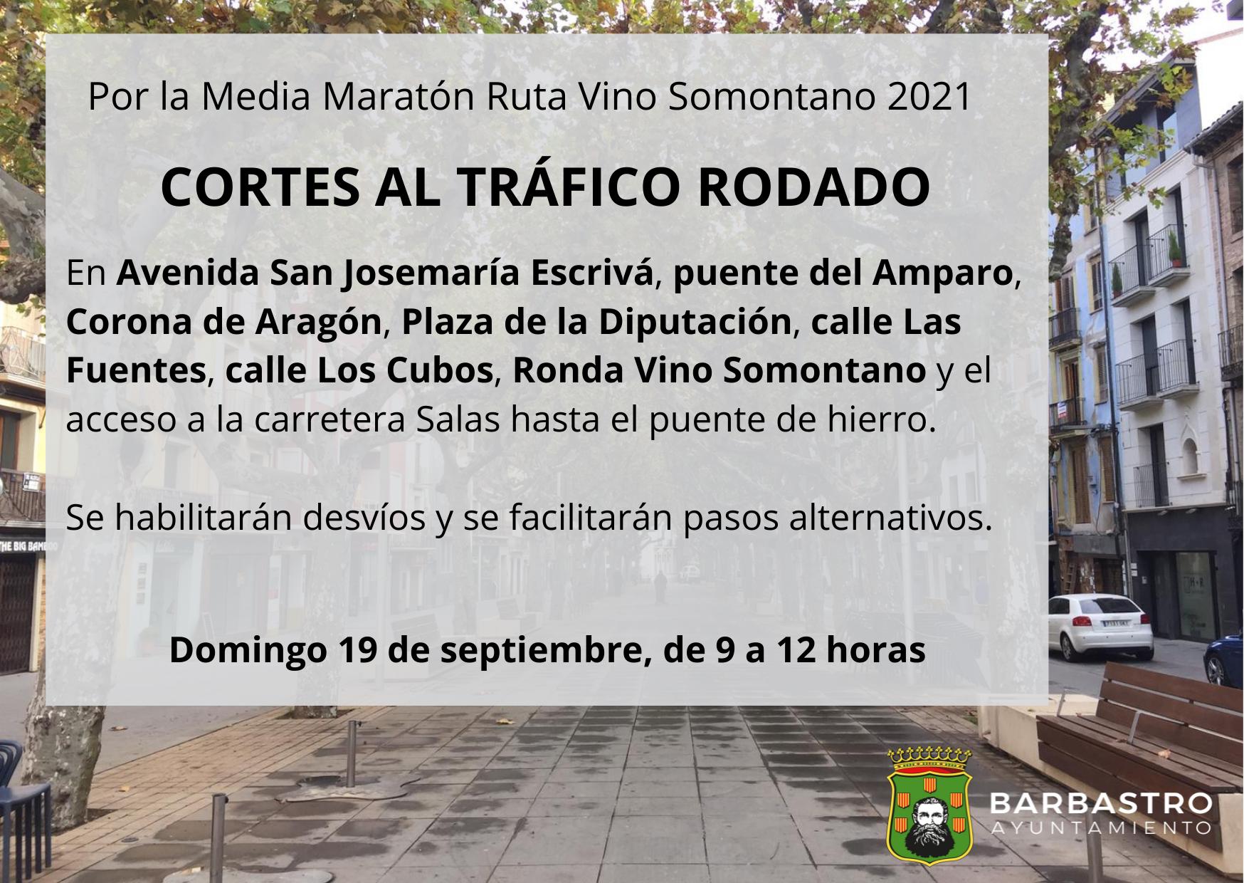 Restricciones al tráfico con motivo del XXIX Medio Maratón Ruta Vino Somontano