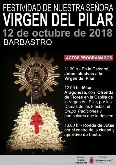 Barbastro celebra el Día del Pilar con jotas, ofrenda floral y un pasacalles