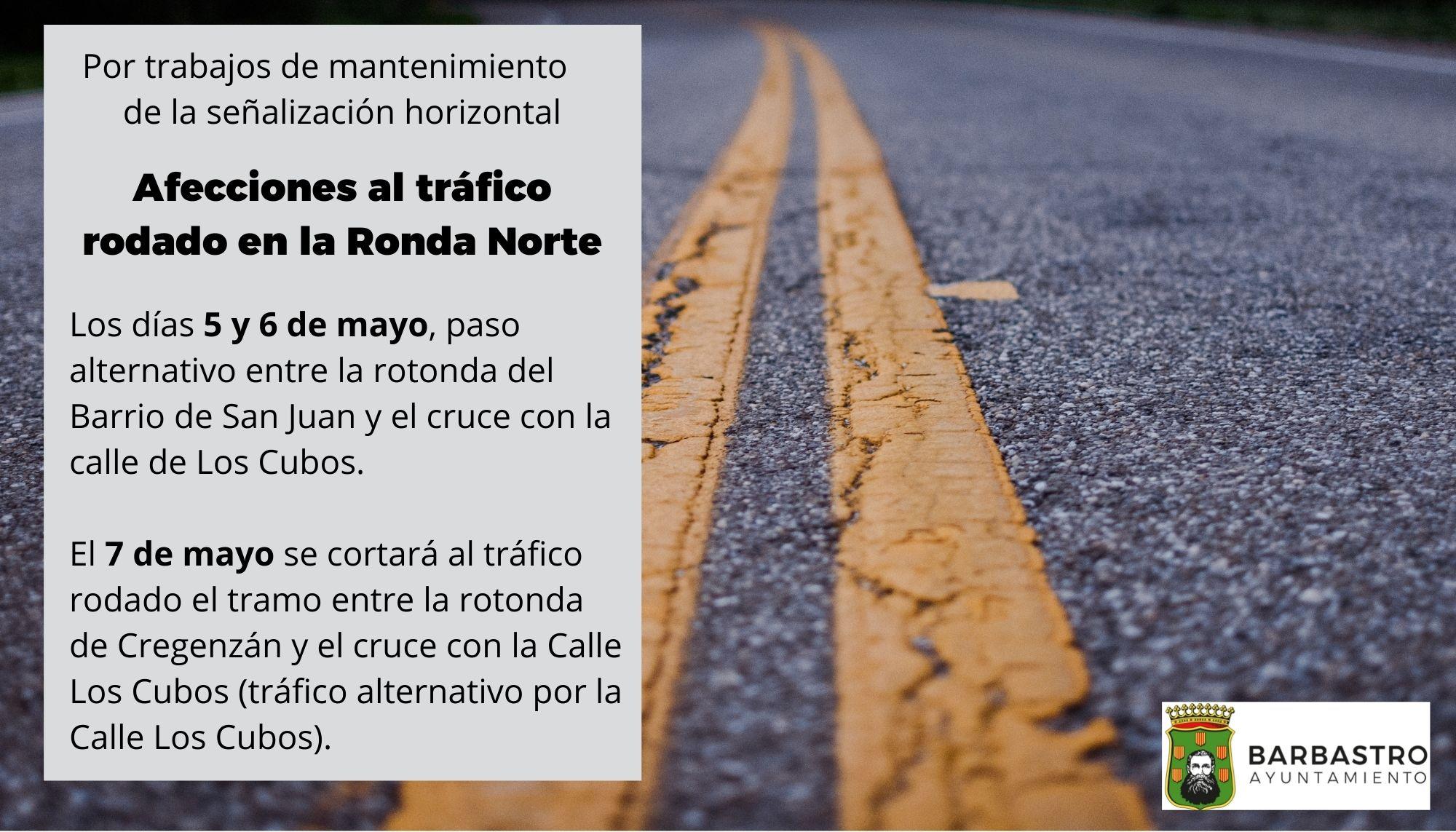 Afecciones al tráfico rodado en la Ronda Norte